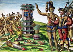 Rene Goulaine de Laudonniere (c.1529-82) and Chief Athore in front of Ribault's Column, from 'Brevis Narratio...', engraved by Theodore de Bry (1528-98) 1563 (coloured engraving)