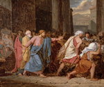 Jesus Driving the Merchants from the Temple (oil on canvas) Fine Art Print by Giovanni Benedetto Castiglione