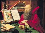 St. Jerome (oil on panel) Wall Art & Canvas Prints by Martin Schongauer