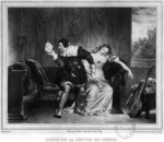 Scene of the cousin's letter, illustration from 'The Barber of Seville' by Pierre Augustin Caron de Beaumarchais (1732-99) engraved by Alfred Leon Lemercier (19th century) (litho) (b/w photo) Fine Art Print by Pierre Gustave Eugene Staal