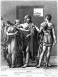 Phaedra, Theseus and Hippolytus, illustration from Act III Scene 5 of 'Phedre' by Jean Racine (1639-99) engraved by Raphael Urbain Massard (1775-1843) 1824 (engraving) (b/w photo) Fine Art Print by Jean Auguste Dominique Ingres