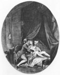 Valmont and Emilie, illustration from 'Les Liaisons Dangereuses' by Pierre Choderlos de Laclos (1741-1803) engraved by Romain Girard (b.c.1751) 1782 (engraving) (b/w photo) Fine Art Print by French School