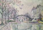 The Canal Saint-Martin, 1933 (oil on canvas) Postcards, Greetings Cards, Art Prints, Canvas, Framed Pictures, T-shirts & Wall Art by Paul Signac