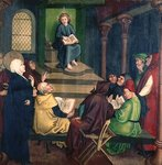 Jesus with the Doctors, from the Altarpiece of the Dominicans, c.1470-80 (oil on panel) Wall Art & Canvas Prints by Martin Schongauer