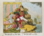 'What He Was. What He Is', caricature of Napoleon (1769-1821) published by S. Knight (coloured engraving) Postcards, Greetings Cards, Art Prints, Canvas, Framed Pictures, T-shirts & Wall Art by French School