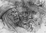 Heads of three men, from the The Vallardi Album (pen & ink on paper) (b/w photo) Wall Art & Canvas Prints by Antonio Pisanello