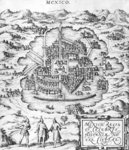 Map of Mexico, illustration from 'Civitates Orbis Terrarum' by Georg Braun (1541-1622) and Frans Hogenberg (1535-90) c.1572 (engraving) (b/w photo) Fine Art Print by Joris Hoefnagel