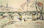 The Pont des Arts, 1924 (pencil & w/c on paper) Wall Art & Canvas Prints by Paul Signac