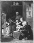 Holy Family, after 1650 (oil on copper) (b/w photo) Fine Art Print by Rembrandt Harmensz. van Rijn