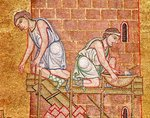 The Tower of Babel, from the Atrium, detail of two builders (mosaic) Wall Art & Canvas Prints by Vittorio Raineri