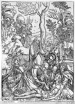 Christ mourned by the Virgin and the female Saints, from 'The Great Passion' series, 1497-1500 (woodcut) (b/w photo) Wall Art & Canvas Prints by Albrecht Dürer or Duerer