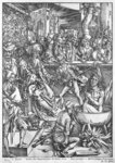 Scene from the Apocalypse, The martyrdom of St. John the Evangelist, Latin edition, 1511 (woodcut) (b/w photo) Wall Art & Canvas Prints by Albrecht Dürer or Duerer