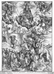 Scene from the Apocalypse, The seven-headed and ten-horned dragon (woodcut) (b/w photo) Postcards, Greetings Cards, Art Prints, Canvas, Framed Pictures, T-shirts & Wall Art by Albrecht Dürer or Duerer