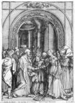 The marriage of the Virgin, from the 'Life of the Virgin' series, c.1504-05 (woodcut) (b/w photo)