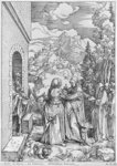 The Visitation, from the 'Life of the Virgin' series, c.1503 (woodcut) (b/w photo) Postcards, Greetings Cards, Art Prints, Canvas, Framed Pictures, T-shirts & Wall Art by Albrecht Dürer or Duerer