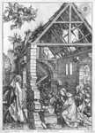 The Nativity, from the 'Life of the Virgin' series, c.1503 (woodcut) (b/w photo) Postcards, Greetings Cards, Art Prints, Canvas, Framed Pictures, T-shirts & Wall Art by Albrecht Dürer or Duerer