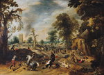 Pillage of a Village Fine Art Print by Jan Brueghel