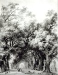 The shady alley, c.1773-74 (sepia wash on paper) (b/w photo) Postcards, Greetings Cards, Art Prints, Canvas, Framed Pictures, T-shirts & Wall Art by George Vicat Cole