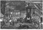 Forge of the Derosne and Cail Company, Grenelle, illustration from 'Les Grandes Usines' by Julien Turgan, engraved by Henry Duff Linton (1815-99) c.1880 (engraving) (b/w photo) Wall Art & Canvas Prints by German School