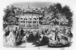 Musard concert at the Champs-Elysees, 1865 (litho) (b/w photo) Fine Art Print by French School