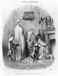 I do not hire people with children, plate 14 from the series 'Tenants and owners' (litho) (b/w photo) Fine Art Print by Honore Daumier