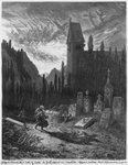 The Wandering Jew in the cemetery, engraved by Octave Jahyer Fine Art Print by Gustave Dore