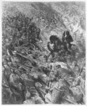 Battle scene, illustration from 'Orlando Furioso' by Ludovico Ariosto (1474-1533) engraved by Jean Francois Prosper Delduc (d.1885) (engraving) (b/w photo) Fine Art Print by Gustave Dore