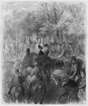 Carriages and riders at Hyde Park, illustration from 'Londres' by Louis Enault (1824-1900) 1876, engraved by Paul Jonnard-Pacel (d.1902) Paris, Hachette (engraving) (b/w photo) Fine Art Print by Pierre Auguste Renoir
