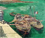 Landing Stage with Boats, 1888 (oil on canvas) Postcards, Greetings Cards, Art Prints, Canvas, Framed Pictures, T-shirts & Wall Art by Paul Cezanne