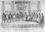 Sketch depicting Napoleon I and the sovereigns at the ball given by the city of Paris on 4th December 1809 (engraving) (b/w photo) Fine Art Print by Hippolyte Delaroche