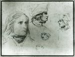 Sketches of Napoleon Bonaparte, 1797 (pencil) Fine Art Print by French School