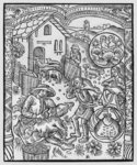 June, sheep shearing, Gemini, illustration from the 'Almanach des Bergers', 1491 (xylograph) (b/w photo) Postcards, Greetings Cards, Art Prints, Canvas, Framed Pictures & Wall Art by Pieter the Elder Bruegel