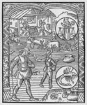 October, sowing, ploughing and threshing, Libra, illustration from the 'Almanach des Bergers', 1491 Poster Art Print by Jacopo Bassano
