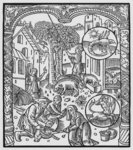 November, killing the pig and harvesting acorns, Scorpio, illustration from the 'Almanach des Bergers', 1491 Fine Art Print by Jacopo Bassano