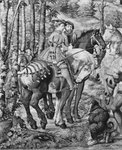 The Hunts of Maximilian, Leo, The Stag Hunt, the Report, Gobelins Factory (tapestry) (b/w photo) Postcards, Greetings Cards, Art Prints, Canvas, Framed Pictures, T-shirts & Wall Art by Jacob Isaaksz. or Isaacksz. van Ruisdael