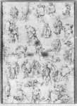 Beggars (pencil on paper) (b/w photo) Wall Art & Canvas Prints by Pieter the Elder Bruegel