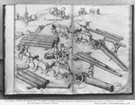 Siver mine of La Croix-aux-Mines, Lorraine, fol.3v and 4r, transporting wood, c.1530 (pen & ink & w/c on paper) (b/w photo) Fine Art Print by Jan Hackaert