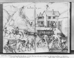 Silver mine of La Croix-aux-Mines, Lorraine, fol.20v and fol.21r, transporting the ore, c.1530 (pen & ink & w/c on paper) (b/w photo) Wall Art & Canvas Prints by Pieter the Elder Bruegel