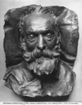 Death mask of Victor Hugo, 1885 (bronze) (b/w photo) Wall Art & Canvas Prints by English Photographer