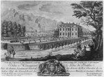 Voltaire's house in Ferney, west side, engraved by Francois, Maria, Isidore Queverdo (1748-97) (engraving) (b/w photo) Wall Art & Canvas Prints by William Grant