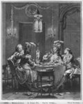 The Gourmet Supper, engraved by Isidore Stanislas Helman (1743-1809) 1781 (engraving) (b/w photo) Postcards, Greetings Cards, Art Prints, Canvas, Framed Pictures, T-shirts & Wall Art by Jean Michel the Younger Moreau
