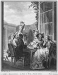The whist party, engraved by Jean Dambrun (1741-after 1808) 1783 (engraving) (b/w photo) Postcards, Greetings Cards, Art Prints, Canvas, Framed Pictures, T-shirts & Wall Art by Pedro Nunez de Villavicenzio
