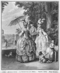 The rendezvous for Marly, engraved by Carl Guttenberg (1743-90) c.1777 (engraving) (b/w photo) Postcards, Greetings Cards, Art Prints, Canvas, Framed Pictures, T-shirts & Wall Art by Jean Michel the Younger Moreau