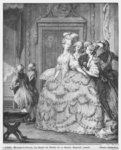 The lady at the Palais de la Reine, engraved by Pietro Antonio Martini (1739-97) 1777 (engraving) (b/w photo) Fine Art Print by Jean Michel the Younger Moreau