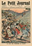 Celebrating the wine harvest in Alsace, illustration from 'Le Petit Journal', supplement illustre, 1st October 1911 (colour litho) Fine Art Print by Sir Lawrence Alma-Tadema