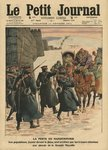 Plague in Manchuria, people fleeing the plague are stopped by Chinese troops before the Great Wall, illustration from 'Le Petit Journal', 12th February 1911 (colour litho) Fine Art Print by Etienne Prosper Berne-Bellecour