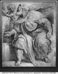 The Prophet Ezekiel, after Michelangelo Buonarroti (pierre noire & red chalk on paper) Fine Art Print by Charles de la Fosse