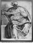 The Prophet Joel, after Michelangelo Buonarroti (pierre noire & red chalk on paper) Fine Art Print by Charles de la Fosse