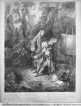 Jean Antoine Watteau and his friend Monsieur de Julienne, engraved by Nicolas Henri Tardieu (1674-1749) (engraving) Fine Art Print by Hermann Kauffmann