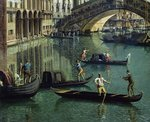 Gondoliers near the Rialto Bridge, Venice Poster Art Print by William James